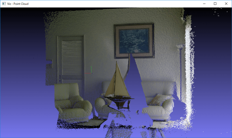 Drawing Point Cloud retrieve from Kinect v2 using OpenCV Viz module
